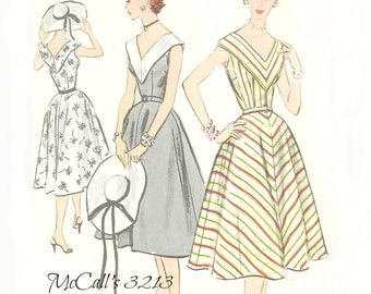 McCalls 3213 V Neck Sleeveless Dress Pattern 1950s Size 14 Bust 32 FF