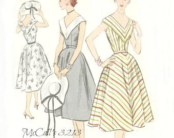 McCalls 3213 V Neck Sleeveless Dress Pattern 1950s Size 14 Bust 32 FF