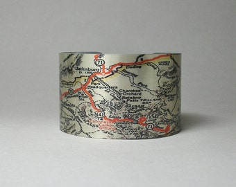 Great Smoky Mountains National Park Map Appalachian Trail Gatlinburg Mt. LeConte Tennessee Cuff Bracelet