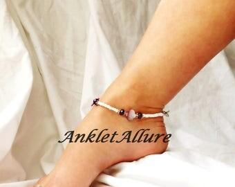 Crystal Beach Anklet Purple Ankle Bracelet Shell Body Jewelry Fetish Foot Jewelry