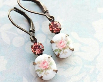 Pink Rose Cameo Earrings Vintage Glass Drop Small Coral Pink Jewel Womens Gift Lightweight Nickel Free Lever Back Country Chic Floral