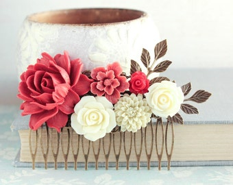 Red Rose Hair Comb Big Deep Red Rose Floral Hair Piece Ivory Cream Roses Floral Collage Vintage Style Flowers for Hair Red Wedding