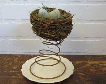 Primitive Rusty Old Bed Spring with Nest and Eggs Spring Farmhouse Decor