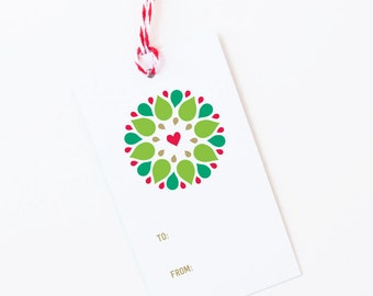 Seasonal Wreath Holiday Gift Tags | Christmas Gift Wrap | Set of 8 Tags with Baker's Twine