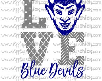 Love Blue Devils SVG Clipart DXF