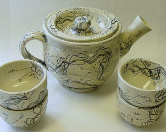 River Frontage Tea Pot and 4 Teacups