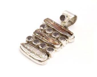Sterling Silver Long Pendant of Genuine Smokey Topaz and Freshwater Biwa Stick Pearls