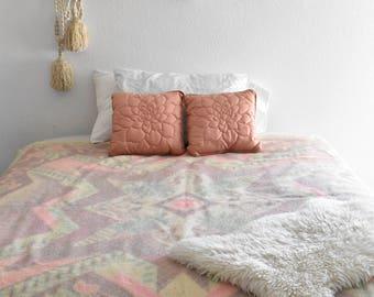 vintage wool scandinavian pink blanket / full size bedding / danish norwegian