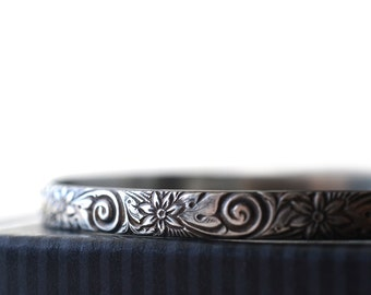 Gothic Women's Bangle, Oxidized Silver Elizabethan Style Floral Stacking Bracelet, Antiqued Jewelry
