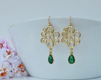 Gold chandelier earrings | Etsy