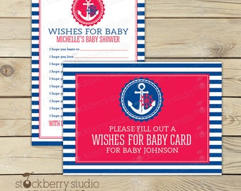 Nautical Baby Shower Wishes for Baby Boy Printable - Nautical Baby Shower Games - Advice Cards - Anchor Baby Shower Well Wishes For Baby