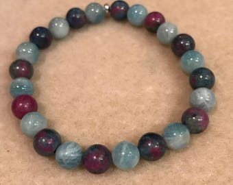 Ruby in Kyaniite & Aquamarine 8mm Round Bead Stretch Bracelet with Sterling Silver Accent