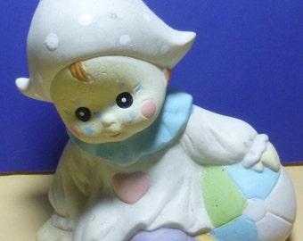 Vintage Baby Pixie Clown Ceramic Figurine, 1980s