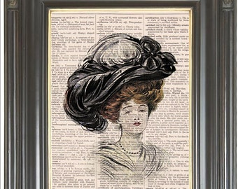 Black feather Easter bonnet Red haired woman wall art print Dictionary art print on dictionary or music page Digital art print No. 258