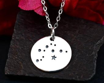 Aquarius Constellation Necklace - Aquarius Star Sign Necklace in Sterling Silver