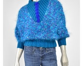 Vintage Fuzzy Mohair Sweater • 80s Sweater • Chunky Knit Sweater • Boucle Wool Sweater • Aqua Blue Sweater • Dolman Sleeve 1980s Sweater S/M
