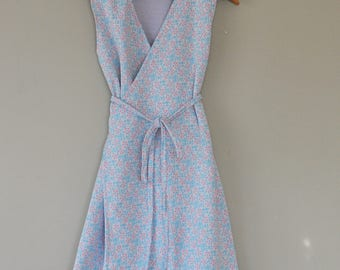 Sleeveless Wrap Dress/Upcycled Vintage Floral Poly Knit/ Handsewn Wrap Dress/Sustainable Fashion