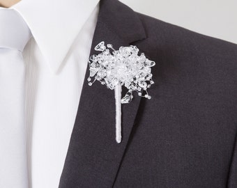 """Boutonniere of """"Ice"""" Beads - Grooms Boutonniere - Silver Boutonniere - Wedding Boutonniere - Prom Boutonniere"""