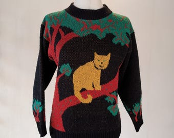 Cat Sitting in Tree Knit Sweater Shirt Top Novelty