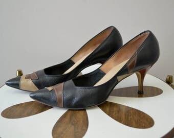 1950s Jacqueline Leather Stiletto Heels