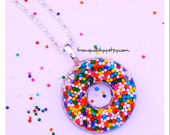 Sprinkle Donut Necklace / Key Chain Sprinkle Resin Sprinkle Donut Fun Kawaii, Scene, Birthday,  By: Tranquilityy