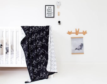 Baby Blanket - Crib Blanket in Nordic Winter design, black and white blanket, baby boy blanket, cot blanket