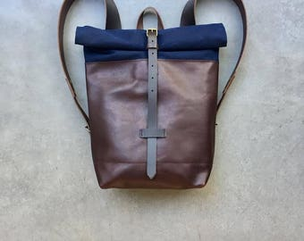 Leather backpack with waxed canvas  roll to close top