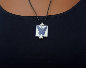 Inlaid Bone Butterfly Necklace