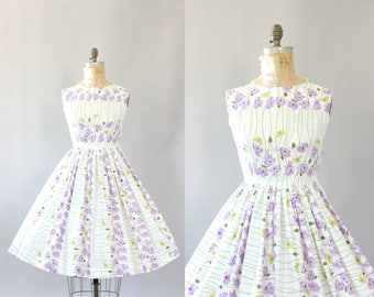 Vintage 50s Dress/ 1950s Cotton Dress/ Purple Floral and Yellow Butterfly Print Cotton Dress M