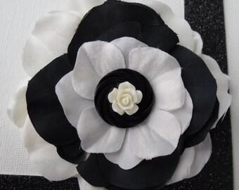 Black and White Button Rose Barrette