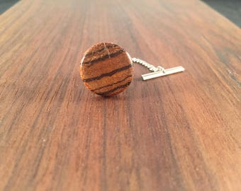 Men's Wood Tie Tack - Bacote Wood - Round- Wedding, anniversary, any Special Occasion