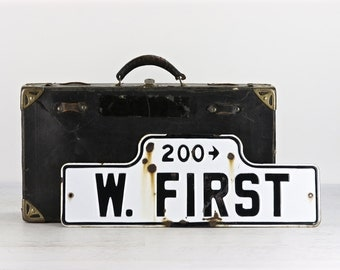 Vintage Street Sign, Porcelain Street Sign, Metal Street Sign, Street Sign, Black And White Street Sign, Industrial Decor, W. First St.
