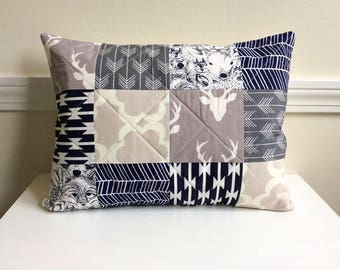 Quilted Pillow Cover, 12 x 16 inch, Buck Forest, Woodland, Deer, Quilted Patchwork, Grey, Navy, Ivory, Mushroom, Ready To Ship