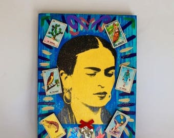 Vintage Frida Kahlo themed artwork mixed media 3d with Loteria lotto cards / Mexican Mexico Folk art Original/ screenprint