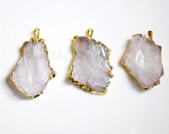 Raw Amethyst Crystal Slice Druzy Pendant Dipped in 24k Gold, 52x34mm