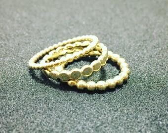 Gold ring set, Stacking ring set, Beaded Ring, Gold stacking, Solid gold rings, Minimalist rings, Layered rings, Dainty rings set
