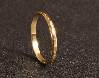 Stacked wedding ring, Women's wedding ring, Thin gold ring, Stacked wedding band, Stacking gold ring, Dainty gold ring, 14K yellow gold ring