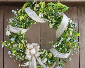 Spring Wreath, Wedding Wreaths, Wedding Decor, Bridal Shower Decor, Green Wreath, Shabby Cottage Chic Door Wreath, Spring Decoration