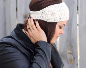 Woman's Crochet Boho Headband with Flower in Off White- Ear Warmer