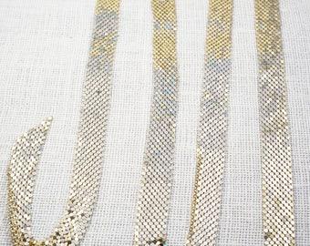 Vintage Long Gold Tone Mesh Versatile Belt Lariat Necklace Whiting & Davis