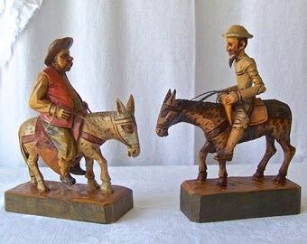 Vintage Don Quixote and Sancho Panza Hand Carved Figurines Vintage 1960s