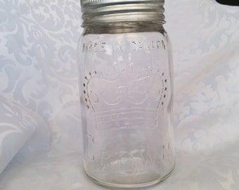 Vintage CROWN jar with Corona Glass Lid - 30 Oz