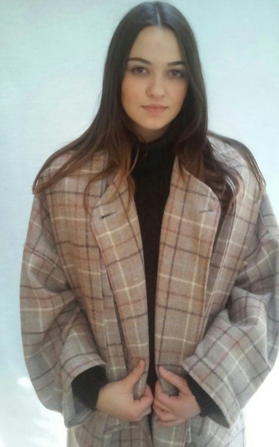 beige plaid wool coat / BLANKET Coat /  windowpane plaid / Oversize,  one size