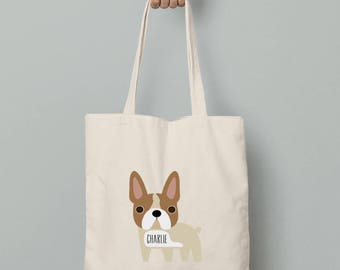 Personalized canvas tote bag, French Bulldog tote bag with custom name