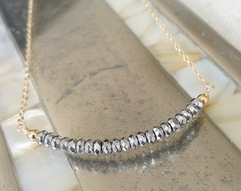 Hematite Necklace, Silver Hematite Necklace, Gold Silver Hematite Necklace, Silver Hematite Gold Necklace, Silver Hematite