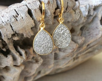 Large Gold Silver Druzy Earrings
