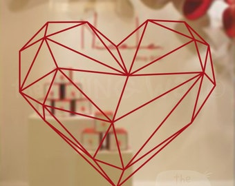 Valentines Day Geometric Heart Decorative Shop Window Display, Removable Sticker Australian Made