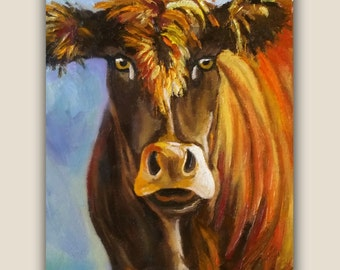"""Original Oil, """"MOO 2"""" Oil Painting, cow, farm, animal, cow painting, signed by the artist, painting"""