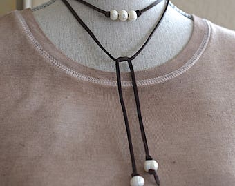 Mother's Day Special / Brown Deerskin Chocker / Pearl Choker Necklace / Wrap Necklace