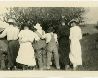 "Vintage Photo ""Camera Shy and Cross Dressed"" Back Snapshot Old Antique Photo Black & White Photograph Found Paper Ephemera Vernacular - 93"